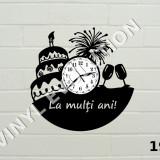 Ceas de perete din vinil cadou - Happy birthday - La multi ani