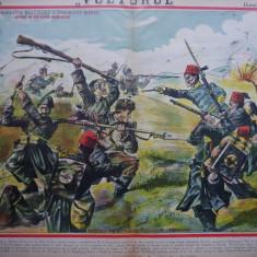 Ziarul Vulturul , nr. 39 din 1906 , cromolitografie mare ; Dorobantii la Grivita