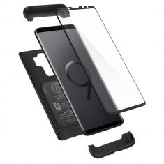 Husa Premium Originala Spigen 360 Grade Thin Fit Samsung Galaxy S9+ Plus Cu Folie Sticla Curbata Inclusa ,negru