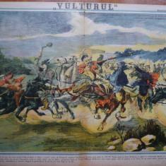 Ziarul Vulturul , nr. 34 din 1906 , cromolitografie mare ; Lupta dela Valea Alba