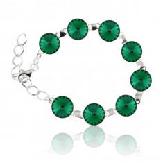 Bratara argint, Bratara Swarovski Rivoli Emerald 12mm + CADOU Laveta pentru curatat bijuteriile din argint