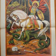 Ziarul Vulturul , nr. 98 din 1908 , cromolitografie  mare , Sf. Gheorghe
