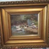 Ulei pe pânză zsombory Lajos rate, Pasari, Realism