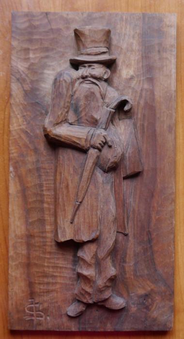 Evreu bucovinean ; Sculptura in lemn de Ioan Sarghie , semnata , Vijnita , 1931