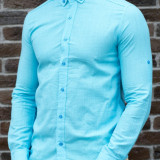 Camasa bleu turquaz - camasa slim - camasa barbati - camasa de ocazie, M, XL, Din imagine