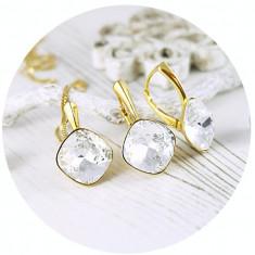 Set bijuterii argint suflat cu aur 24k, Set Swarovski Square Crystal Clear + CADOU Laveta pentru curatat bijuteriile din argint