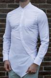 Camasa asimetrica - camasa slim fit - camasa barbati alba - camasa barbati, L, M, XL, Maneca lunga, Alb