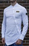 Camasa asimetrica barbat - camasa alba camasa barbat camasa slim camasa army, L, XL, XXL, Maneca lunga