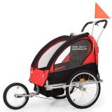 Remorcă bicicletă & cărucior copii 2-în-1, negru și roșu