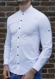 Camasa tunica - camasa slim fit - camasa alba nasturi negri - camasa barbati, L, M, S, XL, XXL, Maneca lunga, Alb