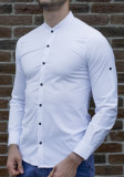 Camasa tunica - camasa slim fit - camasa alba nasturi negri - camasa barbati