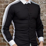 Camasa negru alb - camasa slim fit - camasa barbati - camasa contrast, L, M, S, XL, XXL, Din imagine