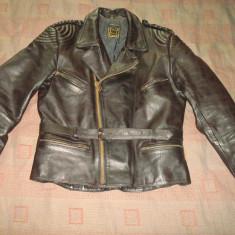 Geaca din piele naturala/Moto/Motor/Motociclist/Vintage/Clasic/Rock/Rocker, XL, Negru