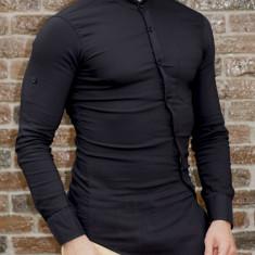Camasa asimetrica - camasa slim fit - camasa neagra - camasa barbati fashion, L, M, XL, Maneca lunga, Negru
