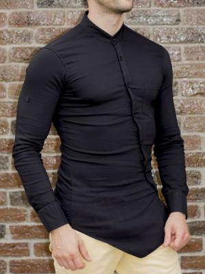Camasa asimetrica - camasa slim fit - camasa neagra - camasa barbati fashion foto