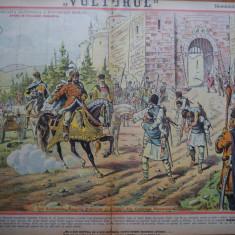 Ziarul Vulturul , nr. 46 din 1906 , cromolitografie mare , Sobieski si romanii