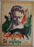 Afisul filmului sovietic , Oameni si fiare , anii 60 , afis dupa desen