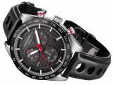 Ceas Tissot PRS 516 negru cronograf barbatesc Quartz, Lux - sport, Inox