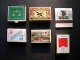 Lot  6  buc.  cutii  de  chibrit / chibrituri  cu bete originale