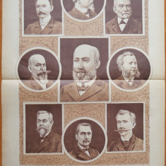 Ziarul Vulturul , nr. 133 din 1909 , cromolitografie mare ; Academicieni romani
