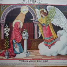 Ziarul Vulturul , nr. 100 din 1908 , cromolitografie mare ; Fecioara Maria