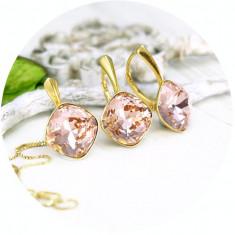 Set bijuterii argint suflat cu aur 24k, Set Swarovski Square Vintage Rose + CADOU Laveta pentru curatat bijuteriile din argint