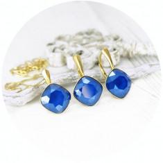 Set bijuterii argint suflat cu aur 24k, Set Swarovski Square Royal Blue + CADOU Laveta pentru curatat bijuteriile din argint