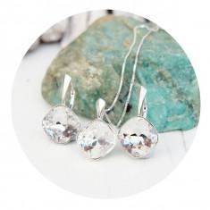 Set bijuterii argint, Set Swarovski Square Crystal Clear + CADOU Laveta pentru curatat bijuteriile din argint