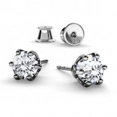 Cercei argint placat cu Rodiu Negru, Cercei Swarovski Zirconia Crystal Clear 6mm + CADOU Laveta pentru curatat bijuteriile din argint