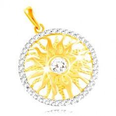 Pandantiv din aur 585 - soare strălucitor în contur de zirconii transparente