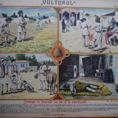 Ziarul Vulturul , nr. 94 din 1906 , cromolitografie mare , Strange la tinerete