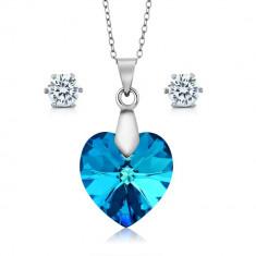 Set bijuterii argint Ocean cu cristale SWAROVSKI CRYSTALS + CADOU Laveta pentru curatat bijuteriile din argint