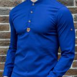 Camasa tunica albastra - camasa slim fit - camasa barbati - camasa albastra, M, S, Din imagine