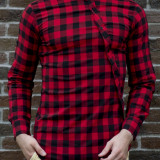 Camasa asimetrica - camasa slim fit - camasa barbati carouri - camasa barbati, L, S, XL, Din imagine