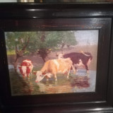 Ulei pe pânză 40x60 cm austro-ungaria Zsombory lajos, Animale, Realism