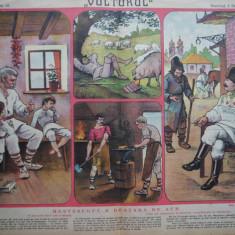 Ziarul Vulturul , nr. 91 din 1907 , cromolitografie mare , Mestesugul e bratara