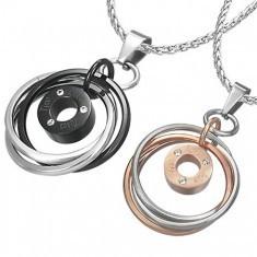 Pandantive cuplu - trei inele cu zircon şi inscripţie