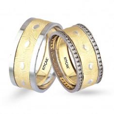 Verighete realizate din aur alb si aur galben UP4123