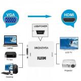 Adaptor Convertor VGA la HDMI (VGA + Audio intrare - HDMI Iesire)