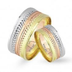 Verighete realizate din aur alb, aur galben si aur roz UM3522