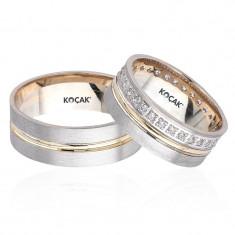 Verighete realizate din aur alb si aur galben F2840