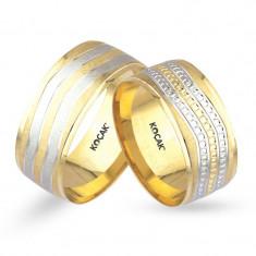 Verighete realizate din aur alb si aur galben UM3600