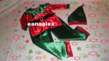 Costum spiridus, elf, serbare, NOU, satin, pitic, Multicolor