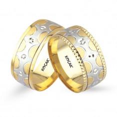 Verighete realizate din aur alb si aur galben UM3610