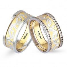 Verighete realizate din aur alb si aur galben UP4121