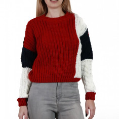 E776-3 Pulover casual in trei culori din material tricotat, S/M