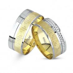 Verighete realizate din aur alb si aur galben UM3577