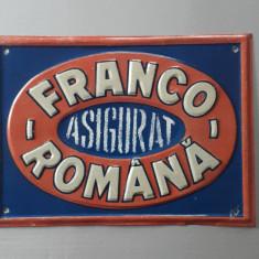 Reclama veche de tabla Soc. de asigurare Franco - Romana - stare de exceptie