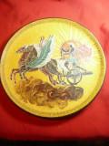 Farfurie -Tablou Grecia pictata cu motive antice per. clasica ,d= 27,8 cm ,ceram