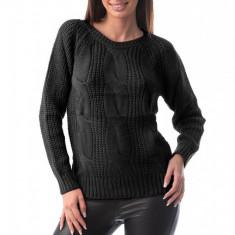 E760-1 Pulover simplu din material tricotat si decolteu rotund, S/M